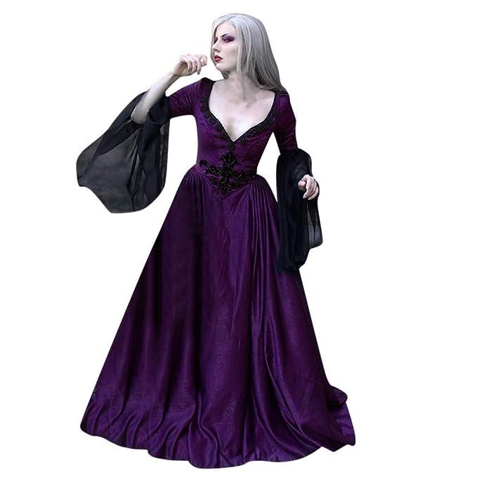 TAOtTAO Vestido de Encaje Sexy con Cuello en V Medieval ...