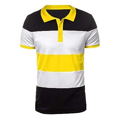 XuanhaFU Polo para Hombre de Botón Casual De Solapa Cosido De ...