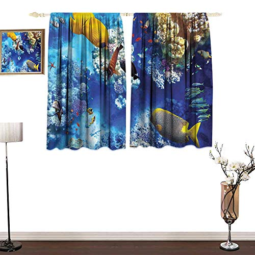 (one1love Thermal Curtains Ocean Wild Underwater Sea Animal Aqua World Corals Tropical Fishes and Stingray Soft Texture W63 xL72)