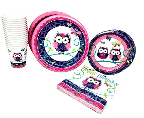 Blue Orchards Owl Party Packs (48 Pieces for 16 Guests), Colorful Party Tableware, Owl Party Supplies, Birthday Decorations, Party Decorations -