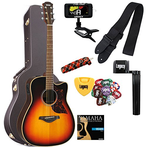 Yamaha A1RVS Acoustic-Electric Guitar in Vintage Sunburst, with case and Legacy Steel String Kit