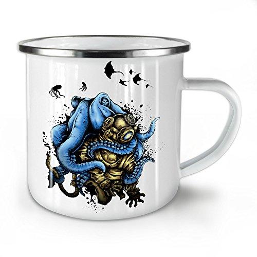 Blue Octopus Hug Deep Diver White Enamel Mug 10 oz   Wellcoda
