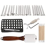 Leather Craft Hand Tools Kit, Leather Stamping Tool with Letter and Number Stamp Set, Stamping Push Set, Carving Knife, Tracing Pen and Hammer for DIY Leather Craft Printing