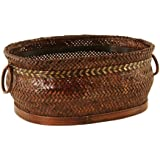 Wald Imports Oval Bamboo Basket with Herringbone Weave