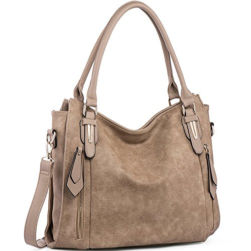 Handbags for Women Shoulder Tote Zipper Purse PU Leather Top-handle Satchel Bags Ladies Medium Size Uncle.Y Khaki