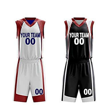 3fef2c06a03 Amazon.com: Custom Reversible Basketball Jerseys Set Sportswear Custom Your  Number Your Name Two Side Uniform: Clothing