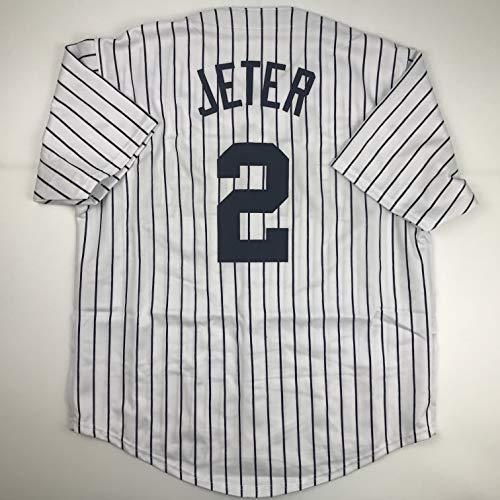 (Unsigned Derek Jeter New York Pinstripe Custom Stitched Baseball Jersey Size Men's XL New No)