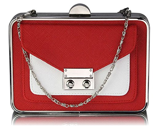 White Bag FREE Chain Clutch Gorgeous Hardcase UK Red Long DELIVERY With qxI5U4wFU