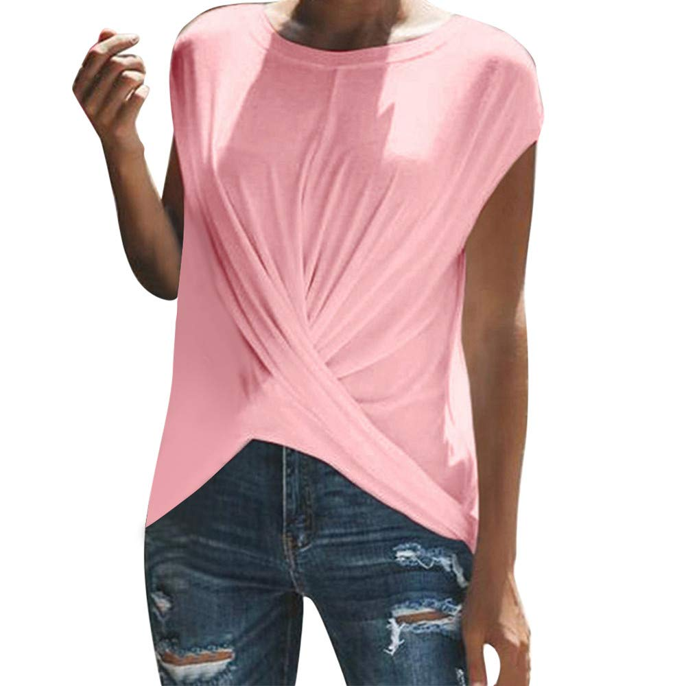 Women Blouse Sale VANSOON Fashion Solid O-Neck Dance Short Sleeve Sport Ruched T-Shirt Top for Teen Girls Pink