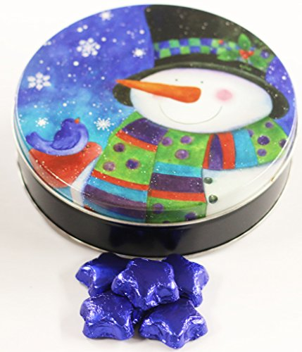 Scott's Cakes Blue Foil Wrapped Solid Milk Chocolate Stars in a Small Top Hat Snowman Tin