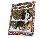 Please Come Home For Christmas Bernedoodle Sitting In Window Art Portrait Print Woven Throw Sherpa Plush Fleece Blanket (50x60 Sherpa)