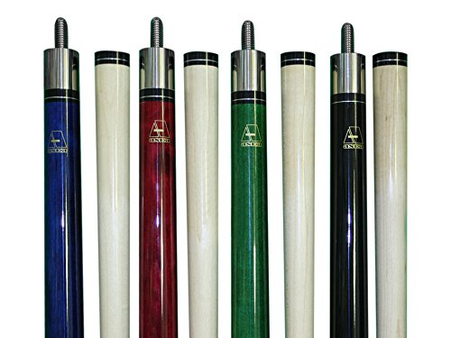 Set of 4 Wrapless Aska L3 Billiard Pool Cues, 58'' Hard Rock Canadian Maple, 13mm Hard Le Pro Tip, Mixed Weights, Black, Blue, Green, Red. by Aska