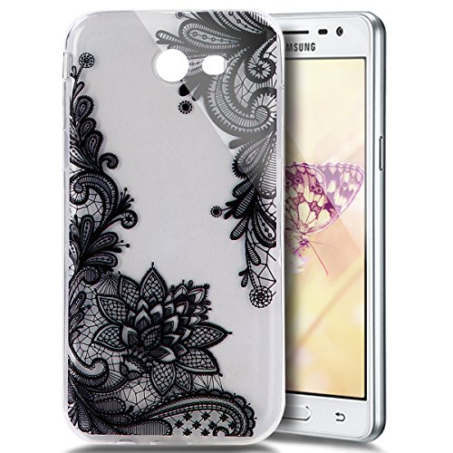 PHEZEN for Samsung Galaxy J3 Emerge Case, J3 2017 /Galaxy J3 Prime/Amp Prime 2 /Express Prime 2 Case, Elegant Black Lace Floral Design Ultra Thin TPU Rubber Soft Skin Silicone Protective Case Cover