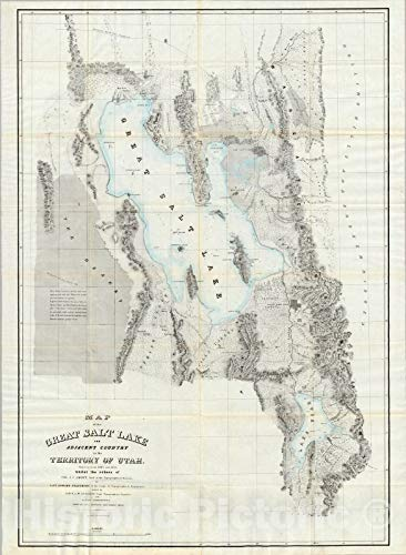 Historic Map - Map of the Great Salt Lake, 1852 - Vintage Wall Art - 18in x 24in