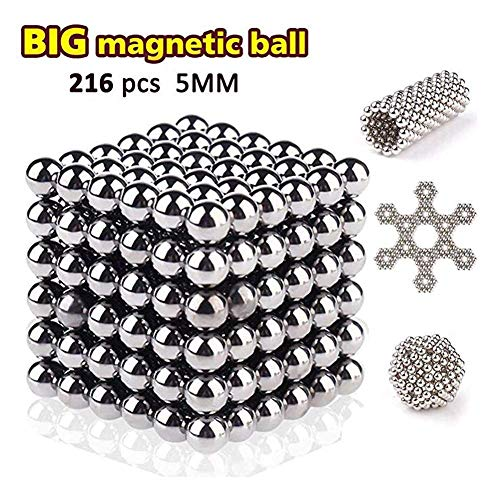(2019 Upgraded) DYI Magnet Cube Desk Toys, 222, 5MM Magnetic Sculpture Building Blocks Buckyballs for Intelligence, Stress Relief & Gift for Adults, (Nickle Cube)