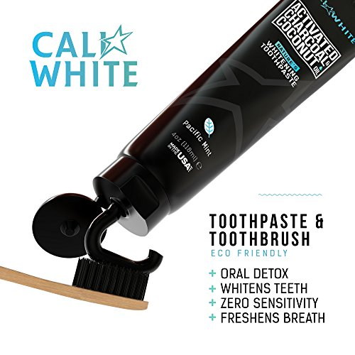 Cali White ACTIVATED CHARCOAL & ORGANIC COCONUT OIL TEETH WHITENING TOOTHPASTE, MADE IN USA, Natural Whitener, Vegan, Fluoride Free, Sulfate Free, Zero Peroxide for Sensitive Teeth, Safe for Kids MINT