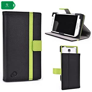 UNVERSAL SMART PHONE CASE FOR Motorola ATRIX HD MB886 [FOLIO STYLE] IN- BLACK/ GREEN
