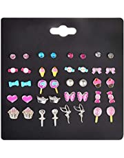 CHOUREN 20 Pairs Kids Stud Earrings Set Mixed Color Cute Animal Heart Pearl CZ Studs Kit
