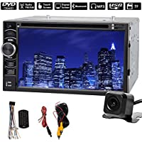 Double 2 Din Car Stereo with Backup Camera, Support Steer Wheel Control, Bluetooth, Touch Screen, CD/DVD/USB/SD/AM/FM In-Dash Player Receiver