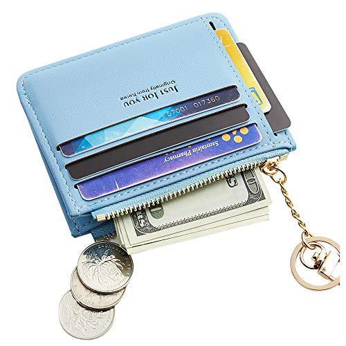 Cyanb Slim Leather Credit Card Case Holder Front Pocket Wallet Change Purse for Women Girls with keychain Light Blue ()