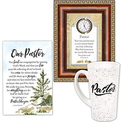 - Johnson Smith Co. (Set) Our Pastor Appreciation Plaque, Clock Frame & Ceramic Quote Latte Mug