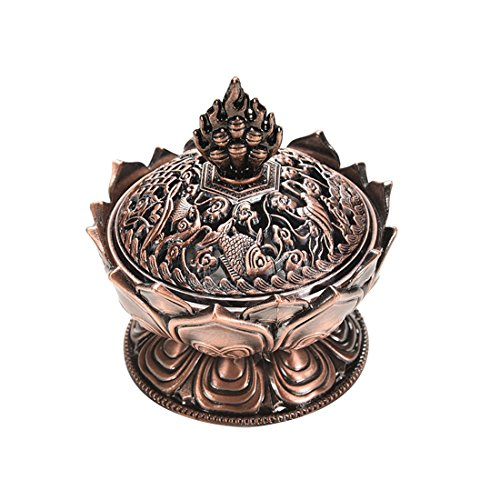 Lotus Incense Stick Burner Holder in Chinese Tang Style-antique brass