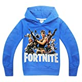 Kids Necessaries Fortnite Hoodies Youth PS4 Gaming Unisex Top Sweaters Jumper Long Sleeve Jackets with Zippers for Boys and Girls (Fortnite Team-BL, Age:12-13Y/160)