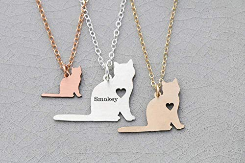 (Cat Necklace - Short Haired - IBD - Personalize Name Date - Pendant Size Options - 935 Sterling Silver 14K Rose Gold Filled Charm)