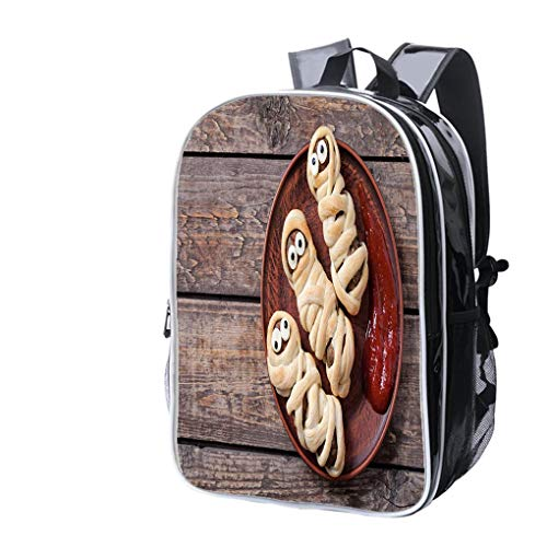 High-end Custom Laptop Backpack-Leisure Travel Backpack Mummy Sausages Scary Halloween Party Food Decoration Wrapped in Dough Water Resistant-Anti Theft - Durable -Ultralight- Classic-School-Black ()