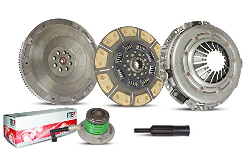 Clutch And Flywheel Kit Works With Chevy Silverado Gmc Sierra 2500 HD LS LT WT SLE SLT Base Extended Standard 2001-2006 6.6L V8 DIESEL OHV Turbocharged (V8 Turbo Diesel; Duramax 6 speed; 6-Puck Disc)