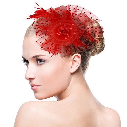 - Acecharming Fascinators for Women, Feather Sinamay Fascinators with Headbands Tea Party Pillbox Hat Flower Derby Hats(Red-Pearl)
