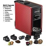 Gourmia GCM7000 Multi Capsule Espresso Coffee Machine Includes Pod Cartridges for Nespresso, Docle Gusto, K-Fee, Verismo by Starbucks, Fresh Ground Espresso, Programmable Temperature- Red