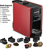 Gourmia GCM7000 Multi Capsule Espresso Coffee Machine Includes Pod Cartridges for Nespresso, Dolce Gusto, K-Fee, Verismo by Starbucks, Fresh Ground Espresso, Programmable Temperature- Red