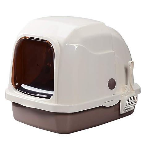 Wcx Gatos Arenero Aseo,Adjunto Encapuchado Desodorante Completamente Cerrado 52.5x41x42CM (Color : Brown