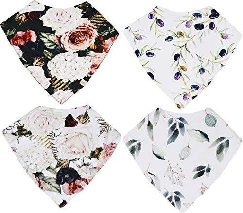 Posh Peanut Baby Bandana Bibs for Drooling and Teething, 100% Organic Cotton and Super Absorbent Hypoallergenic Cloth for Baby Boys and Girls, Baby Shower Gift Set of 4 (Secret Garden)