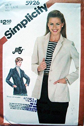 - Simplicity Jiffy Pattern 5926 Misses Unlined Jacket Sizes 10-12-14 Vintage 1983 Pattern