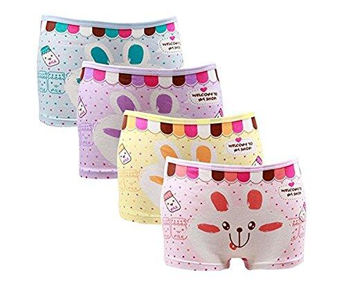 BABYHYY Girls' Cotton Bunny Boyshort Rabbit Little Hipster Panty Underwear Kids Briefs Cotton Panties Pack of 4 L -