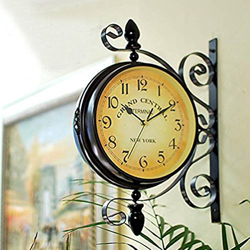 Wrought Iron Vintage-inspired Rotatable Double Sided Wall Clock - Vintage Antique Hanging Clock