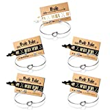 Ikooo Bridesmaid Bracelets 5 pcs Love Knot Open Bangle Bride Tribe Hair tie Best Friend, BFF The Bride Wedding Gift (5 Silver Black Hair tie)