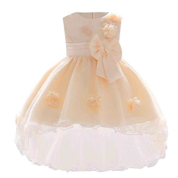 STRIR Vestido Elegante de Flores de Pétalos de Princesa para Bebé Niña (3-6