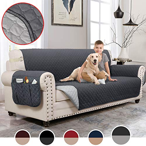 MOYMO Reversible Sofa Covers for Dogs,Water Resistant Sofa cover,Couch Covers for Dogs,Sofa Slipcover,Couch Covers for 3 Cushion Couch,Sofa Covers for Living Room,Couch Protector(Sofa:Dark Grey/Beige) (Types Of Sofa Cushions)