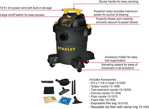 Stanley Wet Dry Vacuum, 6 Gallon, 4 Horsepower