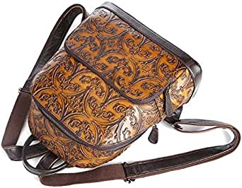 European retro style women's backpack - brown
