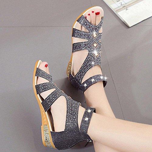 Sandales Romaines Sandales Femmes Été de Noir Bouche Plates Creux Coin B Poisson Cristal Mode Chaussures de Plates Dames Ville Chaussures Chaussures Chaussures Printemps Reaso nTS46n