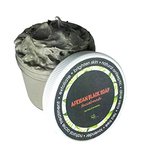 African Black Soap Mask with Aloe Vera, Shea Butter, Tea Tree, Spearmint - Natural Remedy for Acne & Pimple Treatment