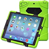 iPad Air 2 Case, iPad 6 Case, ACEGUARDER® [Shockproof] [Heavy Duty] [Military] Extreme Tough & Drop Resistance Soft Silicone Case with Kickstand for Apple iPad Air 2 (Whistle + Stylus Pen + Carabiner) (Green/Black)