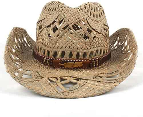 30382ac9d8539 JINRMP Cowboy Hat Womem Men Natural Straw Hardwork Weave Summer Western  Cowgir Sombrero Hombre Lifeguard Hats