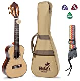 Tenor Ukulele Professional Series by Hola! Music (Model HM-427SSR+), Bundle Includes: 27 Inch SOLID Spruce Top Ukulele with Aquila Nylgut Strings Installed, Padded Gig Bag, Strap and Picks