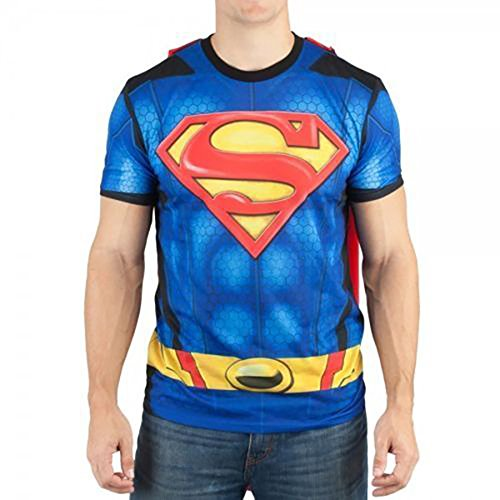 Superman Sublimated Mens Costume w/ Cape DC Comics T-Shirt (XL) (Superman T Shirt With Cape)