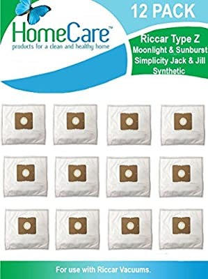 Home Care Riccar Type Z Moonlight and Sunburst Jack & Jill Synthetic Vacuum Bags 12 Pack